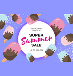 Super summer sale with ice-cream cones melting vector