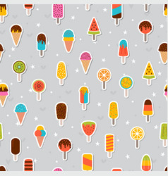 tasty colorful ice cream seamless pattern sweet vector image