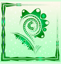 tender background with lime green abstract flower vector image