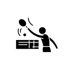 tenis black icon sign on isolated vector image