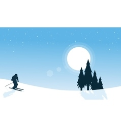 The ski winter chrismtas landscape vector