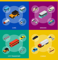 transport car 3d banner set isometric view vector image