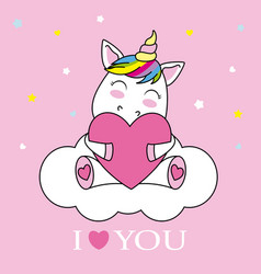 Unicorn hugging a heart vector