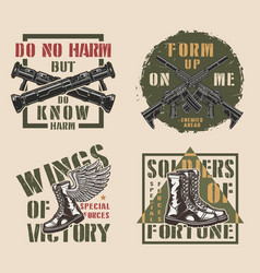 vintage military colorful labels vector image