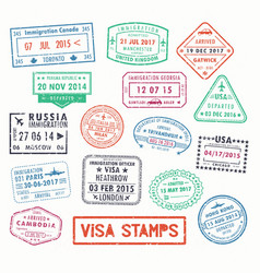 visa stamps or passport signs immigration vector image
