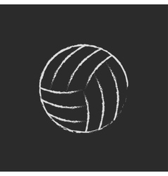 Volleyball ball icon drawn in chalk vector image