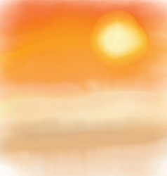 Watercolor sunset background 2005 vector