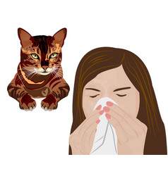 Young sick woman ill suffering pets allergy vector