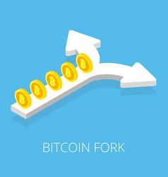 bitcoin fork split arrow concept on blue vector image vector image