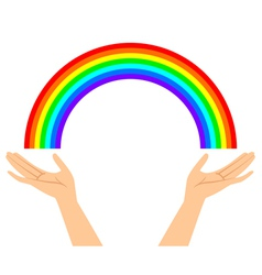 hands with rainbow vector image vector image