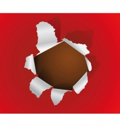 hole in a paper sheet vector image vector image