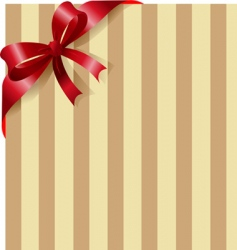 red ribbon on stripe background vector image vector image