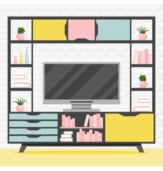 with TV table vector image
