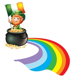 A man inside a pot of gold coins holding flag vector image
