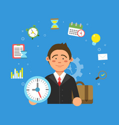 businessman and different symbols of productivity vector image