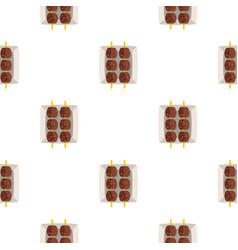 meat shashlik pattern seamless vector image vector image