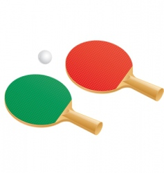 table tennis paddles and balls vector image vector image