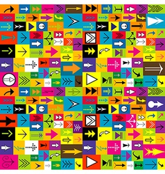 Colorful background with different kinds of arrows vector image