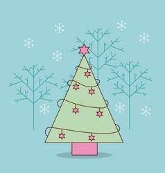 decorative christmas tree pine and stars snowflake vector image