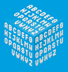 isometric style fonts set vector image vector image