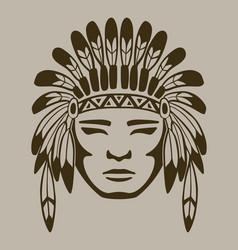 native american warrior hand drawn vector image vector image