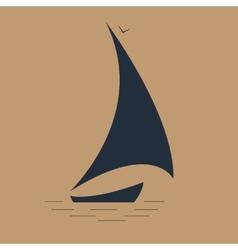 sailboat at sea seascape icon vector image vector image