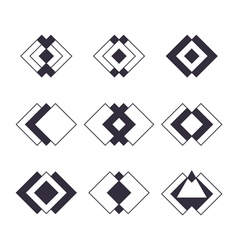 Set of 9 trendy geometric shapes Hipster logotypes vector image