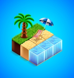 Tropical resort concept Beach with deck chair and vector image vector image
