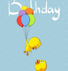 Cute chicks congratulate birthday vector image