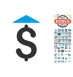 Dollar Up Icon With 2017 Year Bonus Pictograms vector image