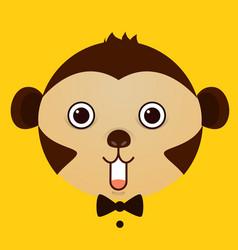 flat image of monkey face on yellow background vector image