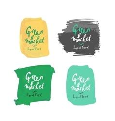 green local market label vector image