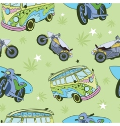 Green Surfboards On Hippie Bus Motorcylces vector image vector image