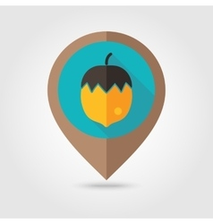 Nut flat mapping pin icon vector image