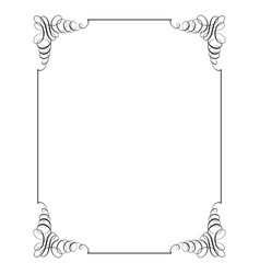 square frame in calligraphic retro style vector image vector image