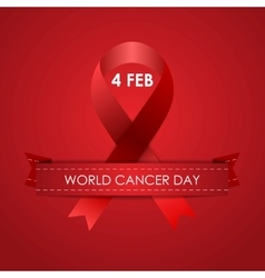 World Cancer Day background with ribbon vector image
