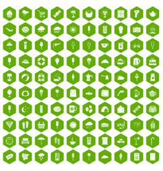 100 ice cream icons hexagon green vector