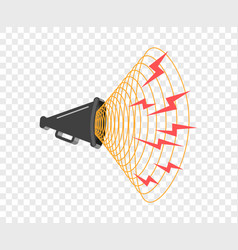 3d megaphone hailer talking loudly to turn vector