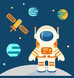 astronaut on the moon in flat style vector image