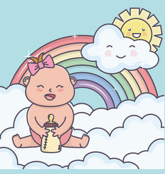 bashower little girl with bottle in clouds sun vector image