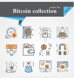 Bitcoin outline and flat icon set isolated vector
