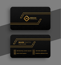 Black and golden business card template vector