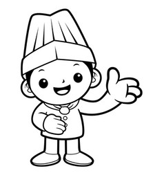 Black and white funny cook mascot give guidance vector