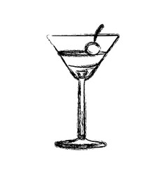 blurred silhouette martini drink cocktail glass vector image