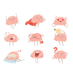 brain characters cartoon mascot making different vector image
