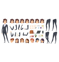 Business woman animation creation kit female vector