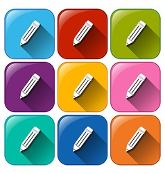 Buttons with pencils vector image