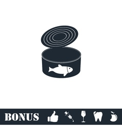 Canned tuna fish icon flat vector