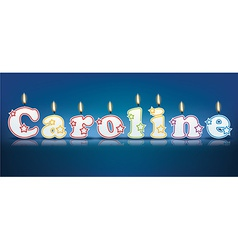 CAROLINE written with burning candles vector image
