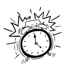 Cartoon of the classicl alarm clock ringing vector